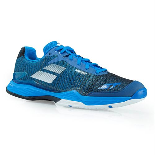 Babolat Jet Mach II All Court Mens Tennis Shoe (RUNS SMALL - SIZE UP 1/2 SIZE) - Diva Blue/Black