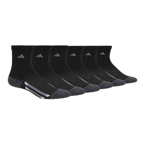 adidas Kids Vertical Stripe Crew Sock (6 Pack) - Black/Black Onix Marl/Light Onix