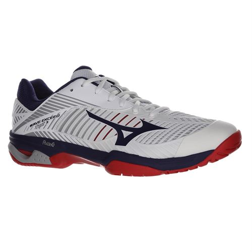 Mizuno Wave Exceed Tour 3 Mens Tennis Shoe - White/Red