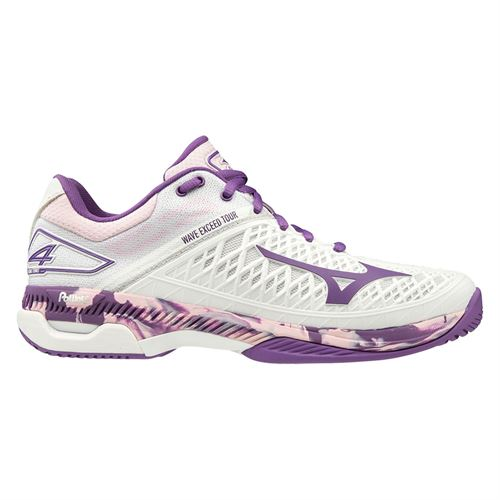 Mizuno Wave Exceed Tour 4 Womens Tennis Shoe White/Purple 550021 0060