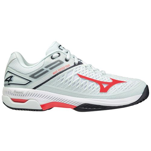Mizuno Wave Exceed Tour 4 Womens Tennis Shoe White/Grey/Red 550030 WB1H