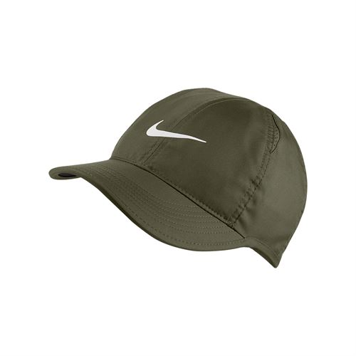 38bc329bedfff Nike Womens Court Aerobill Featherlight Hat - Olive Canvas White
