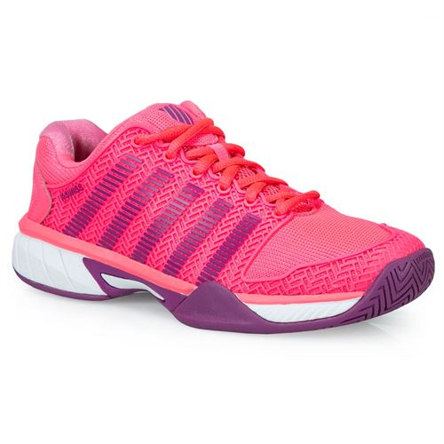 K Swiss Hypercourt Express Junior Tennis Shoe - Neon Pink/Deep Orchard