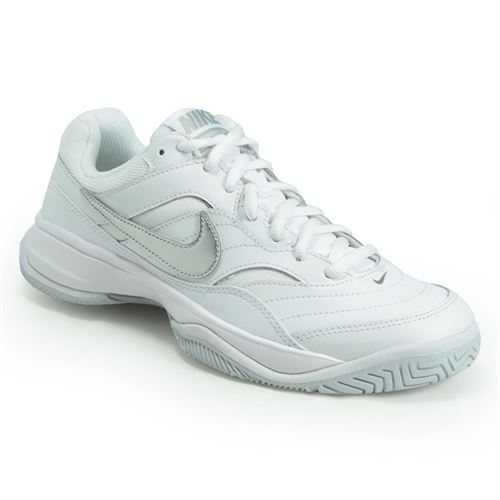 dc60904e2b7 Nike Court Lite Wide Womens Tennis Shoe - White Metallic Silver