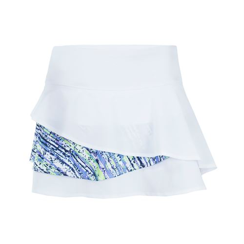 Bolle Sorrento 13.5 Inch Tiered Skirt - White/Lavender Print