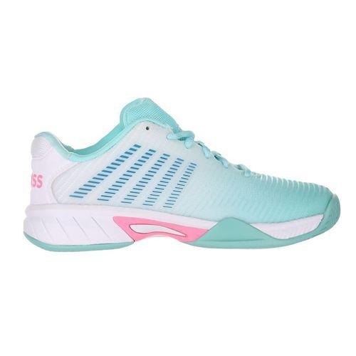 K Swiss Junior Hypercourt Express 2 Tennis Shoe Aruba Blue/White/Soft Neon Pink 86613 439