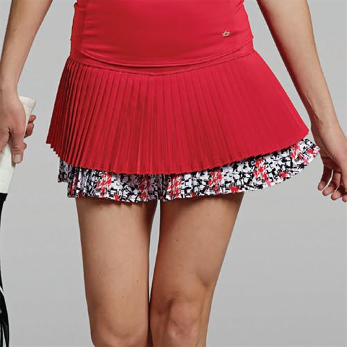 Bolle Checkmate Pleated Tier Skirt - Bolle Red