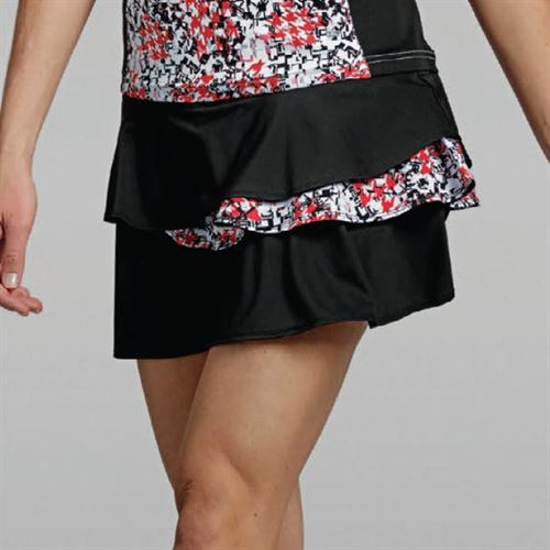 Bolle Checkmate Flounce Tier Skirt - Black