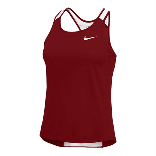 Nike Breathe Singlet Tank - Dark Maroon/White