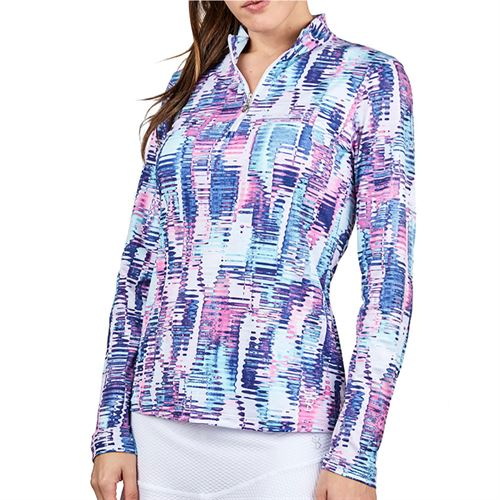 Sofibella UV Feather 1/2 Zipper Long Sleeve Top Womens Vibes 9004F VBS