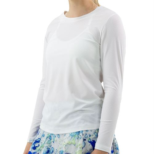 BPassionit Splatter Print Back Plunge Long Sleeve Top Womens White 90858M WHTû
