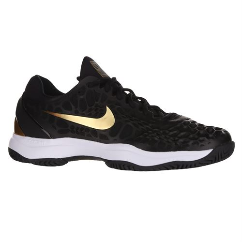 Nike Zoom Cage 3 Hard Court Mens Tennis Shoe Black/Metallic Gold/White 918193 012
