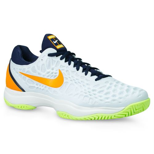 Nike Zoom Cage 3 Mens Tennis Shoe - White/Orange/Blackened Blue