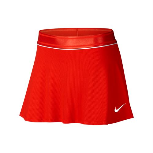 Nike Court Dry Flounce Skirt - Habanero Red/White