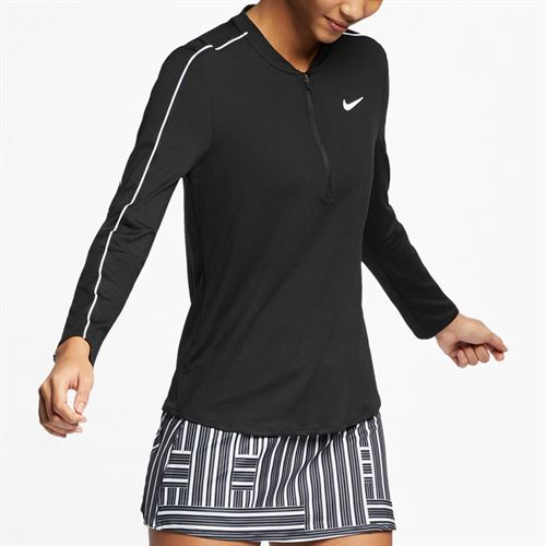 Nike Court Dry 1/2 Zip Top - Black/White
