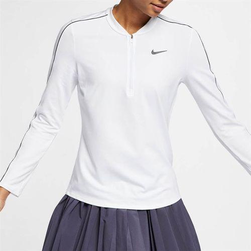 Nike Court Dry 1/2 Zip Top - White/Black
