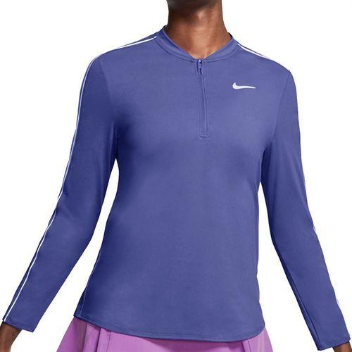 Nike Court Dry 1/2 Zip Long Sleeve Top Womens Rush Violet/White 939322 554