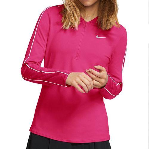 Nike Court Dry 1/2 Zip Long Sleeve Top Womens Rush Vivid Pink/White 939322 616