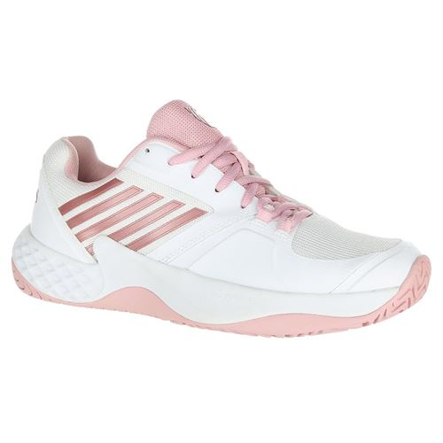 K Swiss Aero Court Womens Tennis Shoe - White/Coral Blush/Metallic Rose
