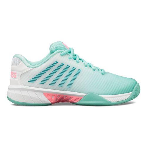 K Swiss Hypercourt Express 2 Womens Tennis Shoe Aruba Blue/White Soft Neon Pink 96613 439