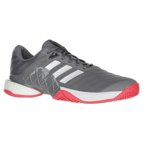 online store 1edaa c5800 adidas Barricade Boost 2018 Mens Tennis Shoe - WhiteMatte SilverScarlet