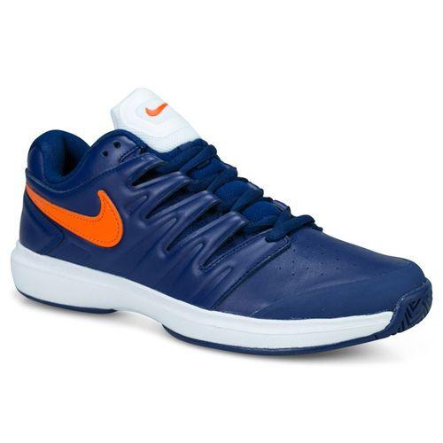 8928eb7ad44ca Nike Air Zoom Prestige Leather Mens Tennis Shoe - Blue Void Orange  Blaze White