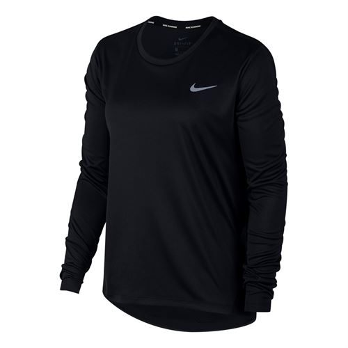 Nike Miler Long Sleeve Top - Black/Reflective Silver