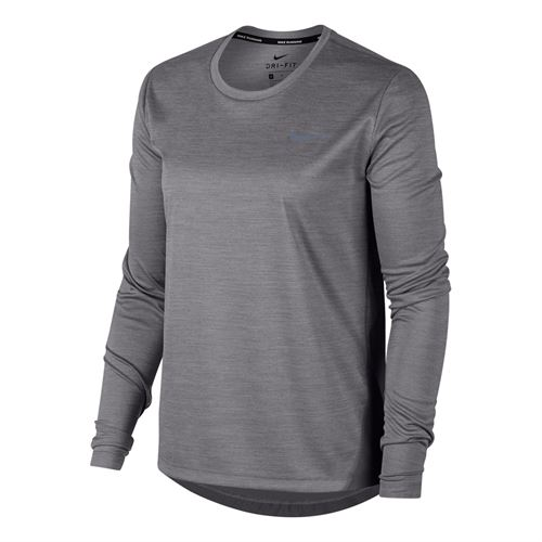 Nike Miler Long Sleeve Top - Gunsmoke Heather/Reflective Silver