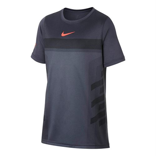 Nike Boys Court Dry Rafa Crew - Light Carbon/Hyper Crimson