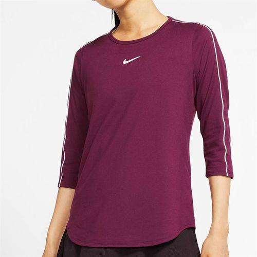 Nike Court 3/4 Sleeve Top Womens Bordeaux/White AQ7658 610