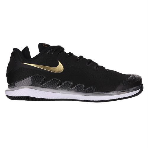 Nike Court Air Zoom Vapor X Knit Mens Tennis Shoe Black/Metallic Gold/White AR0496 003