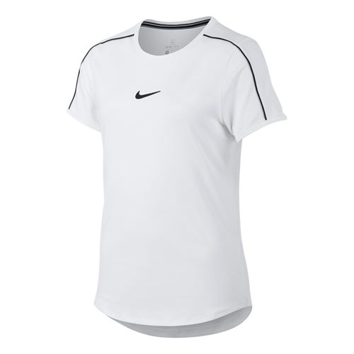 Nike Girls Court Dri-FIT Top - White/Black