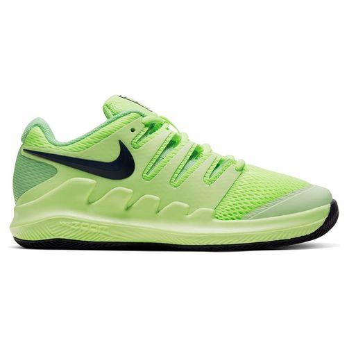 Nike Junior Court Vapor X Tennis Shoe Ghost Green/Blackened Blue/Barely Volt AR8851 302