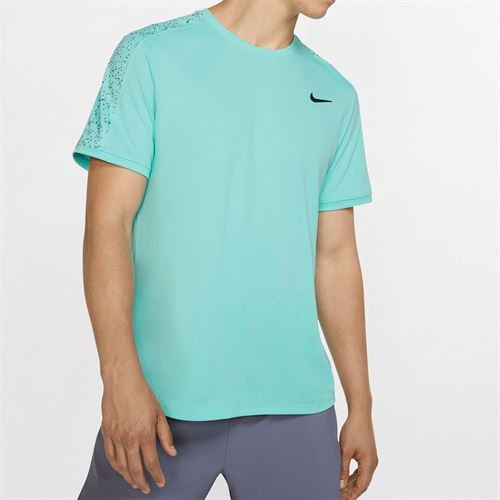 Nike Court Dry Graphic Crew - Light Aqua/Black