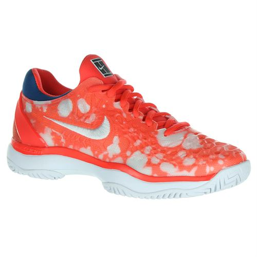 Nike Court Air Zoom Cage 3 Premium Womens Limited Edition Tennis Shoe - Bright Crimson/White/Industrial Blue