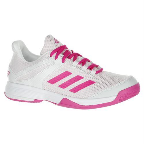 adidas Junior Adizero Club K Tennis Shoe - White/Pink