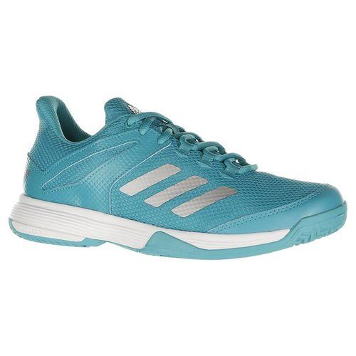 adidas Junior Adizero Club K Tennis Shoe - Aqua/Silver/White