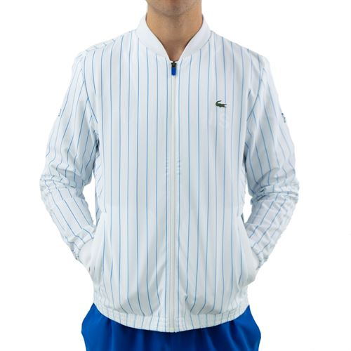 Lacoste SPORT x Novak Djokovic Striped Teddy Jacket - White/Marina