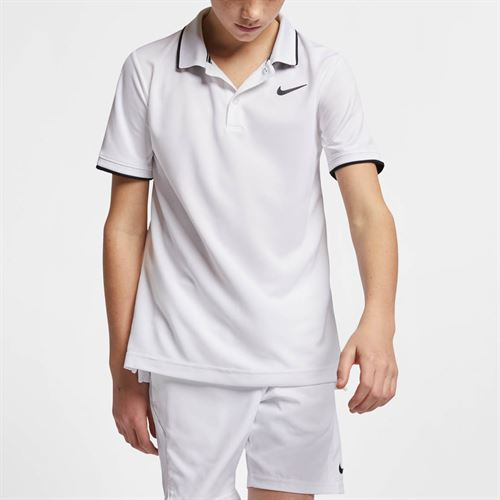 Nike Boys Court Dri Fit Polo - White/Black