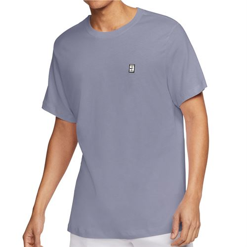 Nike Court Tee Shirt Mens Indigo Haze/White BV5809 519