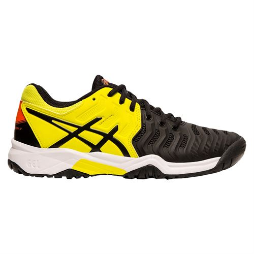 Asics Gel Resolution 7 GS Junior Tennis Shoe - Black/Sour Yuzu