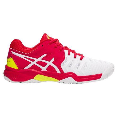 Asics Gel Resolution 7 GS Junior Tennis Shoe - White/Laser Pink