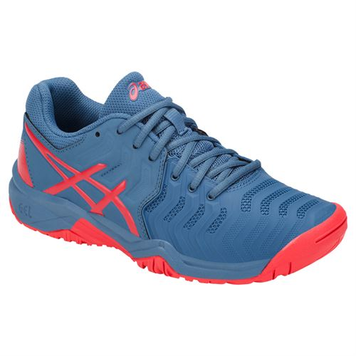 Asics Gel Resolution 7 GS Junior Tennis Shoe - Azure/Red Alert