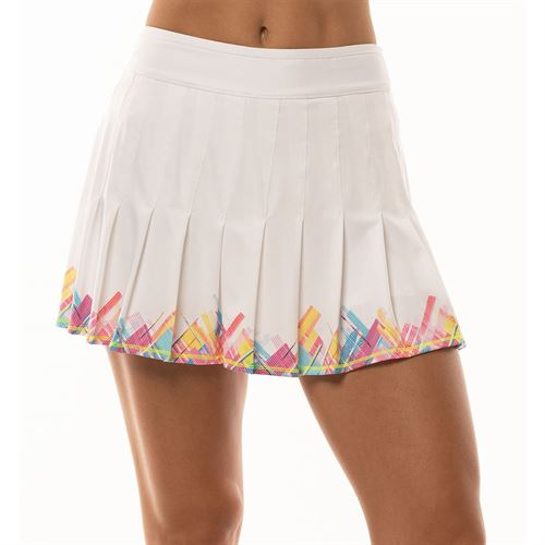 Lucky in Love Mad About Plaid Long Plaid Pleated Skirt Womens White CB282 A51110