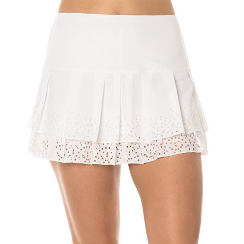 Lucky in Love Laser Long Sunrise Border Skirt - White