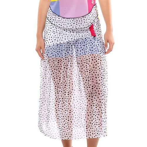 Lucky in Love Long Deco Dot Mesh Skirt Womens White CB428 D41110