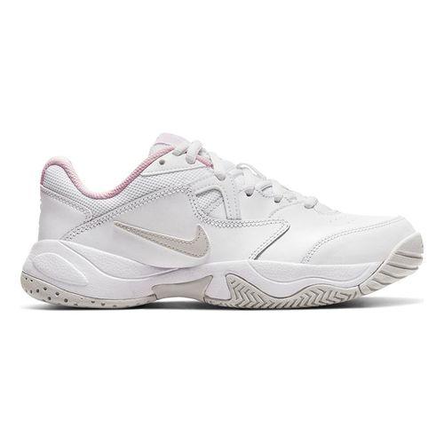 Nike Junior Court Lite 2 Tennis Shoe White/Photon Dust/Pink Foam CD0440 100