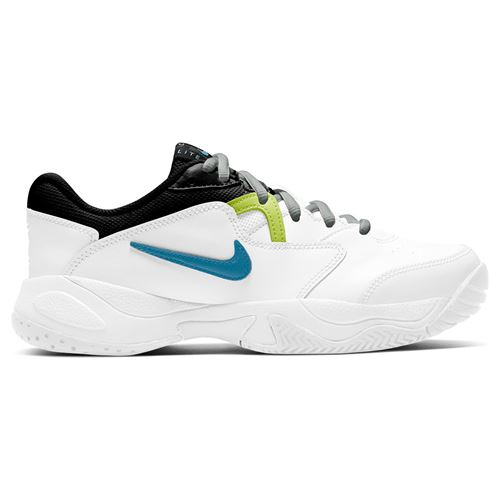 Nike Court Lite 2 Junior Tennis Shoe White/Neo Turquoise/Hot Lime/Light Smoke Grey CD0440 101