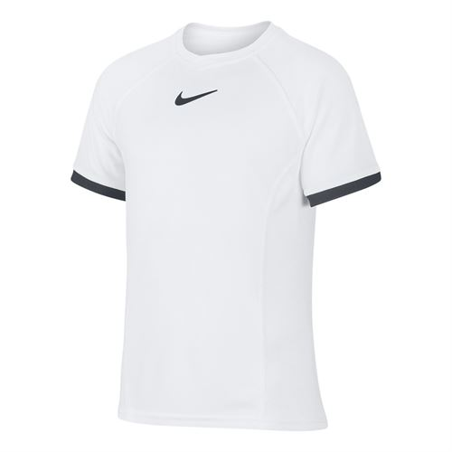 Nike Boys Court Dri Fit Crew Shirt White/Black CD6131 101