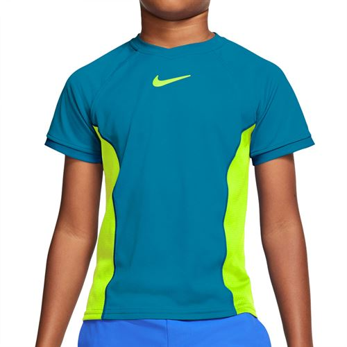 Nike Boys Court Dri Fit Crew Shirt Neo Turquoise/Volt CD6131 425